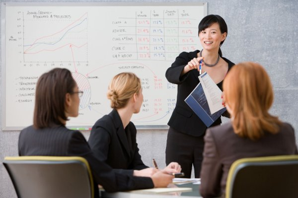 Woman standing in front of white board with charts & graphs, giving presentation to 3 people