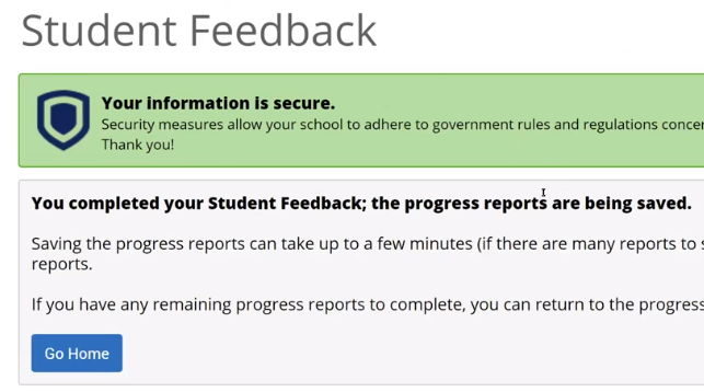 EAB Completed submission screen