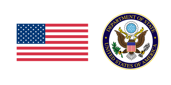 U.S. flag and U.S. Department of State logo