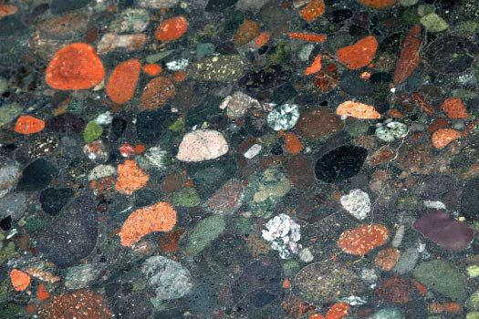 Close up of Conglomerate Rock Bench