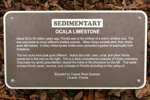 Ocala Limestone Rock Sign