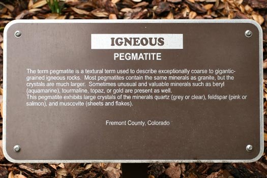 Pegmatite Rock Sign