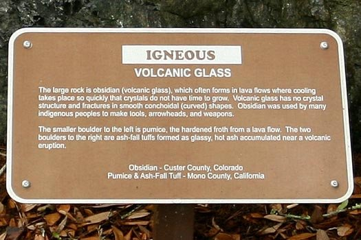 Volcanic Glass Rock Sign