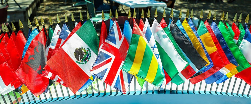 Flags from different countries that SF students attend