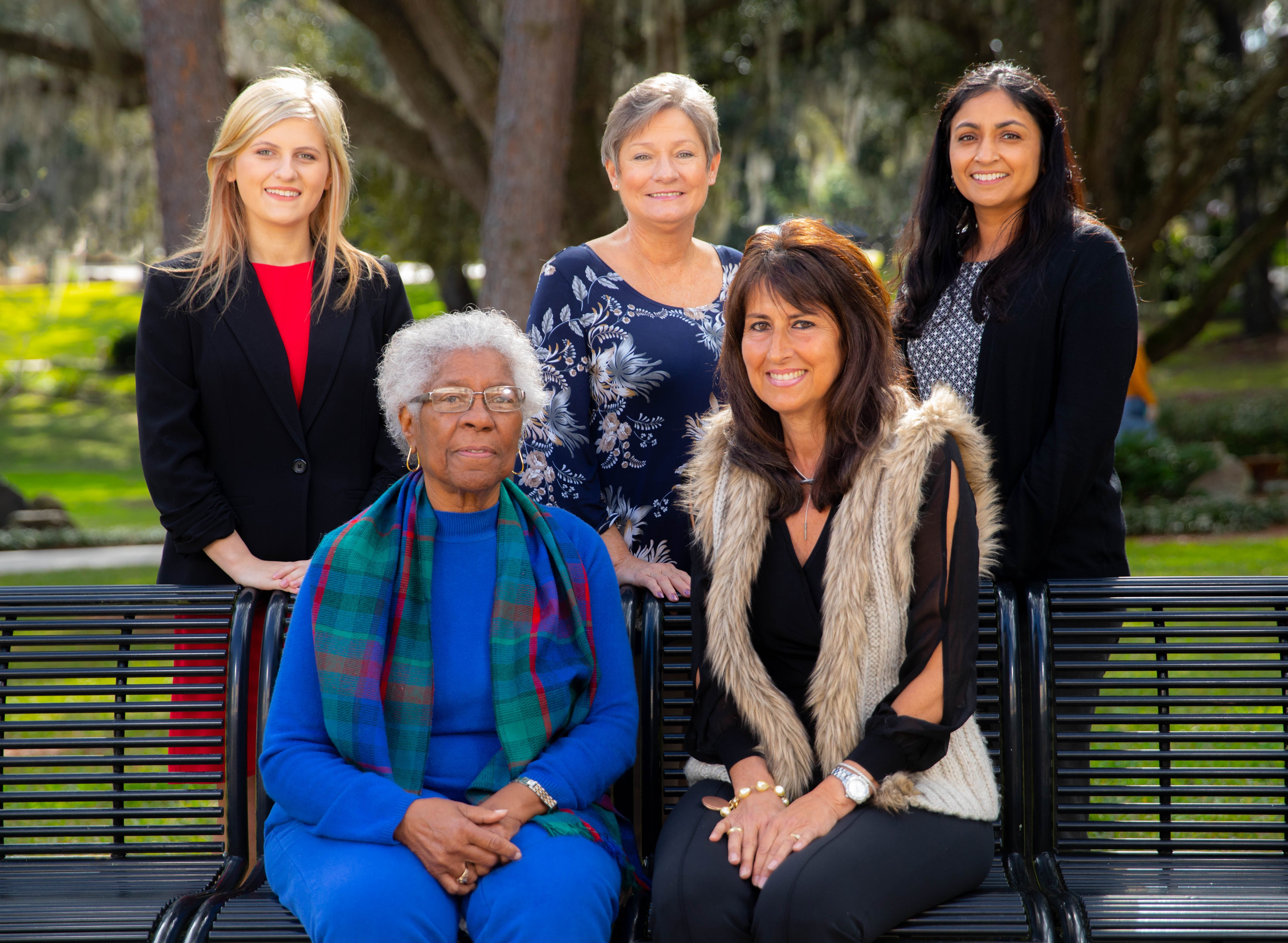The 2019 honorees are (seated) Gussie Mae Washington-Lee and Fran Maris, (standing) Emily Acevedo, Linda Lee and Nilanjana Caballero. Not pictured, Carol Bosshardt