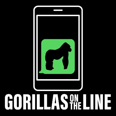 gorilla silhouette on a cellphone. Gorillas on the Line